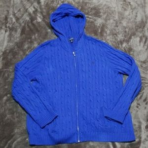 CHAPS CABLE KNIE HOODED ZIPPERED SWEATER 2X POLO